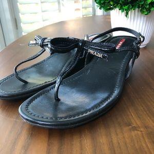 Prada Linea Rossa Patent Bow Demi-Wedge Sandal